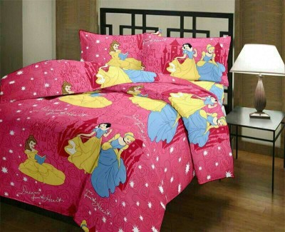 Anurang Satin Cartoon Double Bedsheet(1 Bed Sheet, 2 Pillow Cover, Pink) at flipkart