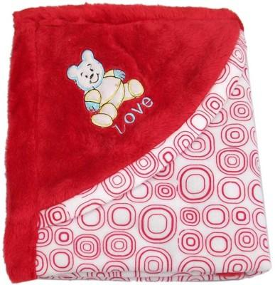Gargshope Cartoon Crib Coral Blanket(Polyester, Red)