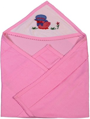 Brim Hugs & Cuddles Solid Crib Hooded Baby Blanket(Cotton, Pink)