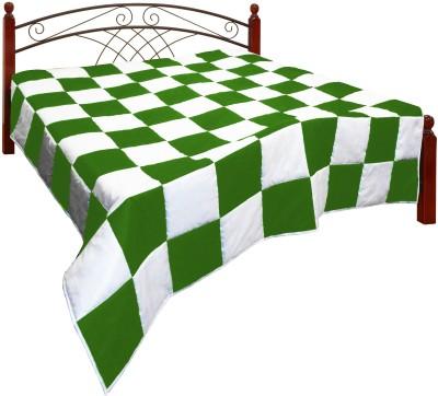 Zikrak Exim Checkered King Quilts & Comforters Green, White(Quilt) at flipkart