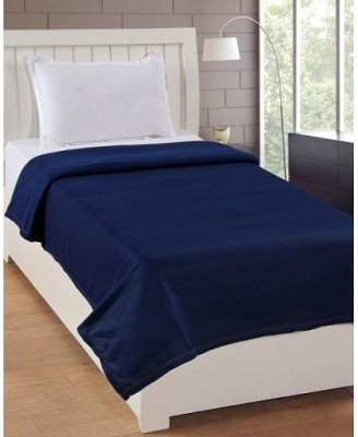 P.S Decor Plain Single Fleece Blanket(Polyester, Blue) at flipkart