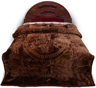 A R Floral Double Mink Blanket(Microfiber, Coffee Brown)