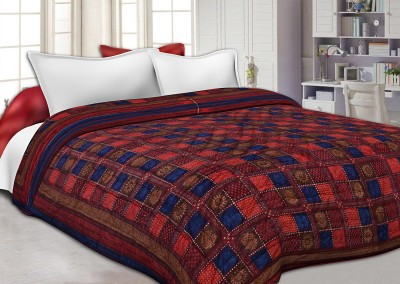 Jaipur Fabric Checkered King Quilts & Comforters Neavy Blue Border Multi Colour Check & Dabu Print(AC Quilt, 1 Double Bed Quilt/Blanket) at flipkart