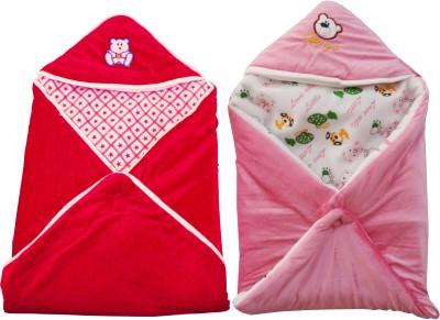 My NewBorn Cartoon Crib Hooded Baby Blanket Pink, Red(Two Lovable Velvet Hooded Baby Blanket) at flipkart