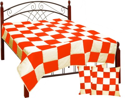 Zikrak Exim Checkered King Quilts & Comforters Pink, Lavender(Quilt and 2 cushion covers) at flipkart