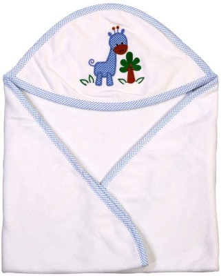 Brim Hugs & Cuddles Solid Crib Hooded Baby Blanket(Cotton, Blue)
