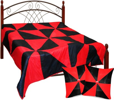Zikrak Exim Checkered King Quilts & Comforters Black, White(Quilt and 2 cushion covers) at flipkart