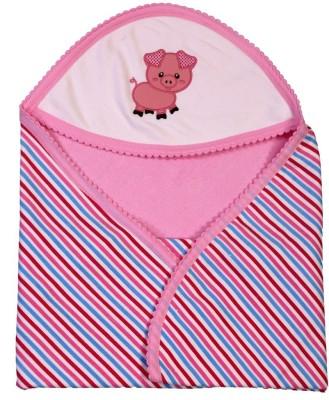 Brim Hugs & Cuddles Striped Crib Hooded Baby Blanket(Cotton, Pink)