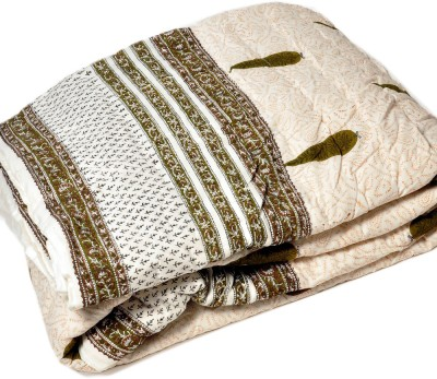 Little India Floral Double Quilts & Comforters Brown, White(Double Bed Quilt)
