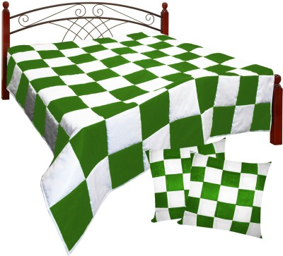 Zikrak Exim Checkered King Quilts & Comforters Beige, Orange(Quilt and 2 cushion covers) at flipkart