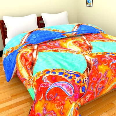 Feathers Floral Double Blanket(Multicolor)