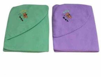 Gargshope Embroidered, Cartoon, Solid Crib Hooded Baby Blanket(Polyester, Sea Green, Purple)