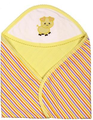 Brim Hugs & Cuddles Striped Crib Hooded Baby Blanket(Cotton, Yellow)