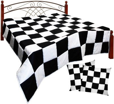 Zikrak Exim Checkered King Quilts & Comforters Beige, Brown(Quilt and 2 cushion covers) at flipkart