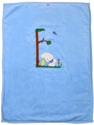Brim Hugs & Cuddles Embroidered Crib Blanket(Cotton, Blue)