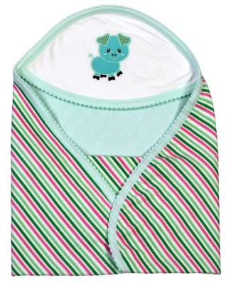 Brim Hugs & Cuddles Striped Crib Hooded Baby Blanket(Cotton, Green)