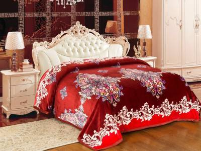 Signature Floral Double Blanket Marron