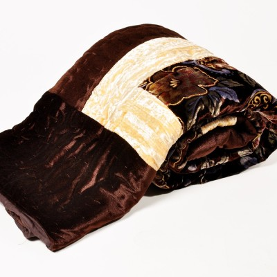 Little India Floral Single Quilts & Comforters Brown(Single Bed Quilt)