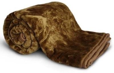 NK Handlooms Plain Double Blanket Brown(Mink Blanket, Blanket) at flipkart
