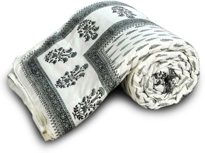 Indian Gift Emporium Floral Single Comforter(Cotton, Grey) at flipkart