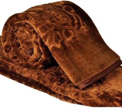 Magical Plain Double Mink Blanket(Microfiber, Brown) at flipkart