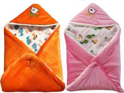 My NewBorn Cartoon Crib Hooded Baby Blanket Tangerine, Pink(Two Lovable Velvet Hooded Baby Blanket) at flipkart