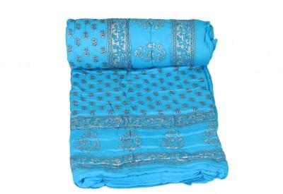 Chhipaprints Floral Single Comforter(Cotton, Light Blue) at flipkart