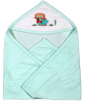 Brim Hugs & Cuddles Solid Crib Hooded Baby Blanket(Cotton, Green)