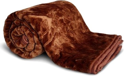 Magical Plain Double Blanket(Microfiber, Brown) at flipkart