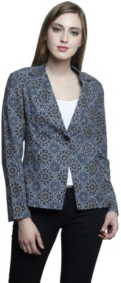 Trendsnu Printed Single Breasted Casual Women Blazer(Blue)
