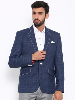 Shaftesbury London Solid, Striped, Checkered Single Breasted Formal, Casual, Festive, Wedding Men's Blazer(Blue)