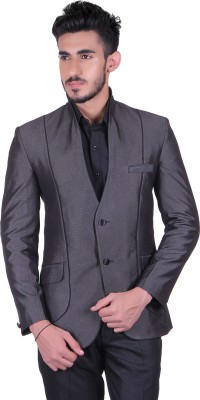 Protext Solid Single Breasted Casual, Festive, Formal, Lounge Wear, Party, Sports, Wedding Men's Blazer(Grey)