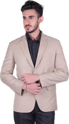Protext Solid Single Breasted Casual, Festive, Formal, Lounge Wear, Party, Sports, Wedding Men's Blazer(Beige)