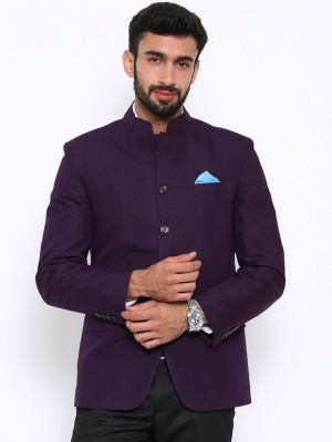 Shaftesbury London Solid, Striped, Checkered Double Breasted Formal, Casual, Festive, Wedding Men's Blazer(Purple)