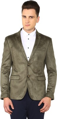 Arrow Solid Single Breasted Casual Men's Blazer(Green) at flipkart