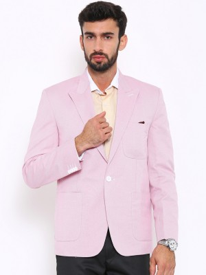 Shaftesbury London Solid, Striped, Checkered Single Breasted Formal, Casual, Festive, Wedding Men's Blazer(Pink)
