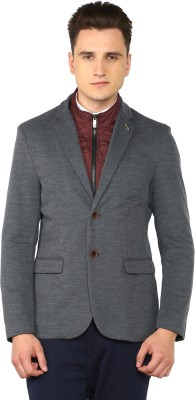 Arrow Sport Solid Single Breasted Casual Men Blazer(Grey) at flipkart