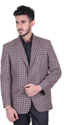 Protext Checkered Single Breasted Casual, Festive, Formal, Lounge Wear, Party, Sports, Wedding Men's Blazer(Brown)