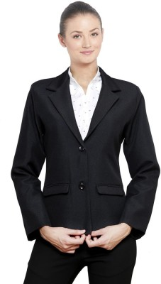 NGT Solid Double Breasted Formal Women's Blazer(Black)