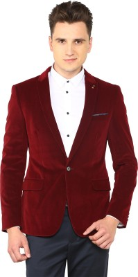 Arrow New York Solid Single Breasted Casual Men Blazer(Purple) at flipkart