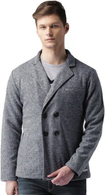 Mast & Harbour Self Design Double Breasted Casual Men Blazer(Dark Blue, Grey) at flipkart