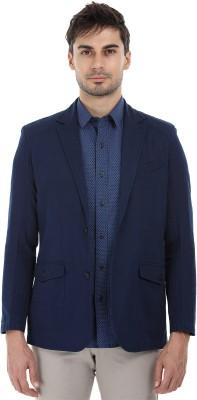 Zobello Solid Tuxedo Style Casual Men Blazer(Blue)