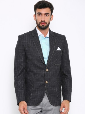 Shaftesbury London Solid, Striped, Checkered Single Breasted Formal, Casual, Festive, Wedding Men's Blazer(Black)