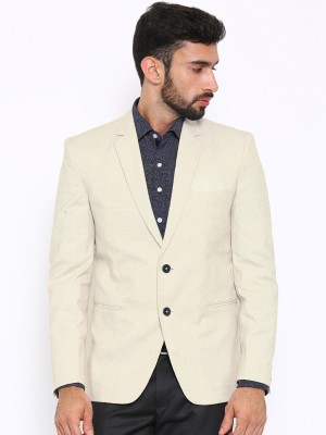 Shaftesbury London Solid, Striped, Checkered Single Breasted Formal, Casual, Festive, Wedding Men's Blazer(Beige)