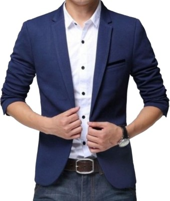 Beetle Solid Single Breasted Casual Men Blazer(Blue)