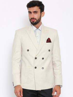 Shaftesbury London Solid, Striped, Checkered Double Breasted Formal, Casual, Festive, Wedding Men's Blazer(Beige)
