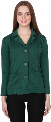 TeeMoods Solid Single Breasted Casual Women's Blazer(Green)