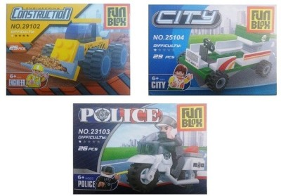 Fun Blox CityBlock, Construction and Police Bike(Multicolor)