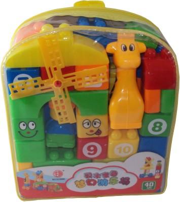 POPULAR Building Blocks Set of 40Pcs with Bag for kids Multicolor POPULAR Blocks   Building Sets