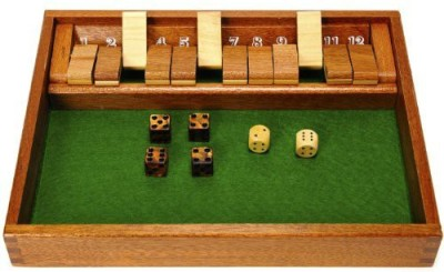 Deluxe Games and Puzzles Shut The Box Wood With 12 Flaps _Plus Bonus 4 Bronze Swirl Board Game